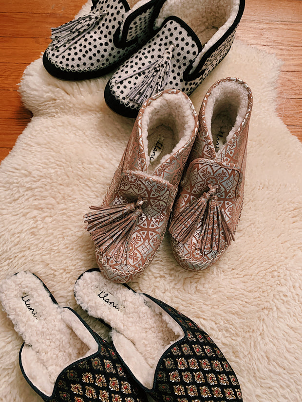 Embellished Jacquard Shearling Smoking Loafer