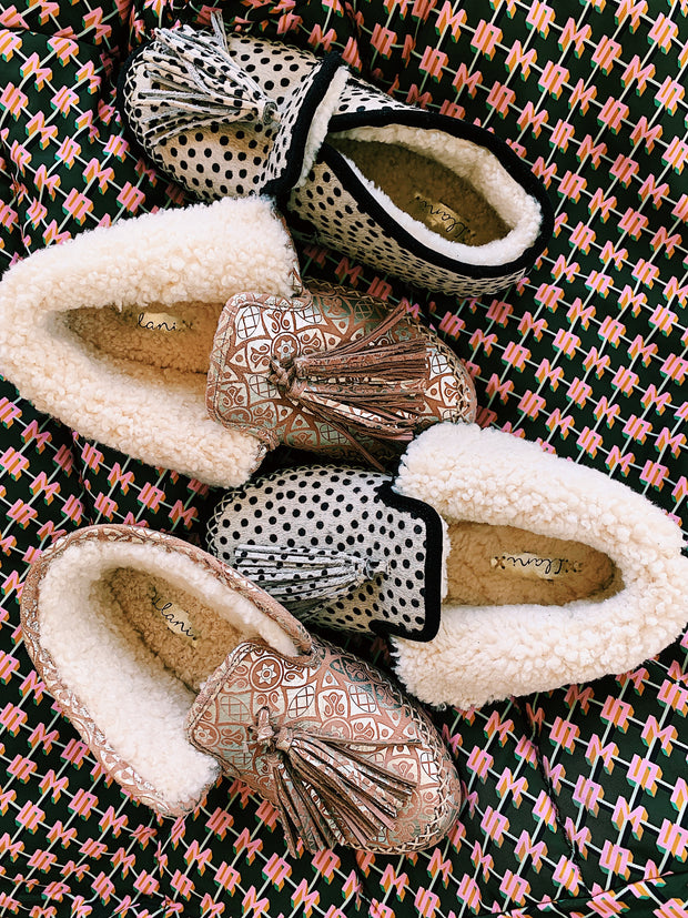 Gilded Suede Shearling Moccasin