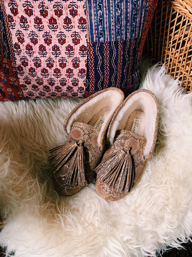 Sueded Snake Shearling Moccasin