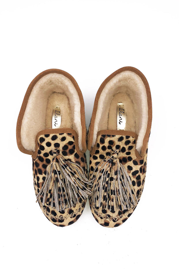 Abstract Animal Hair- On Shearling Moccasin