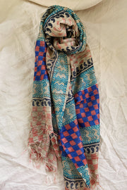 MARKET Graphic Raw Silk Block Printed Stole