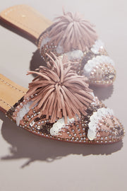 embellished slide in peche, embellished flats