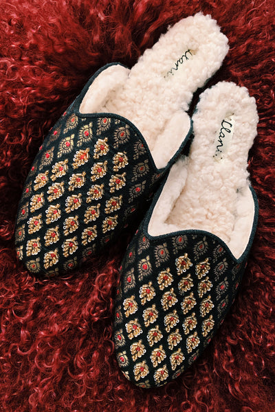 Embellished Jacquard Shearling Smoking Loafer- Llani