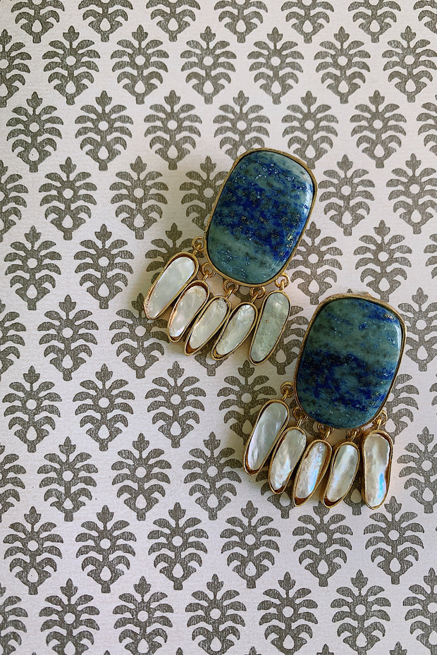 Lapis Pearl Flutter Earrings