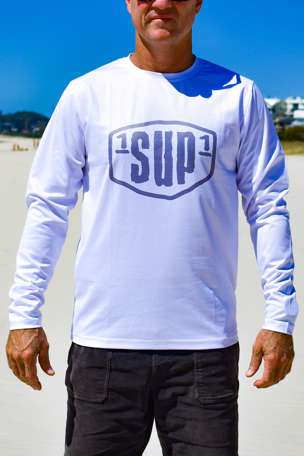 Men's White Long Sleeve Paddle Tee (Grey Logo)