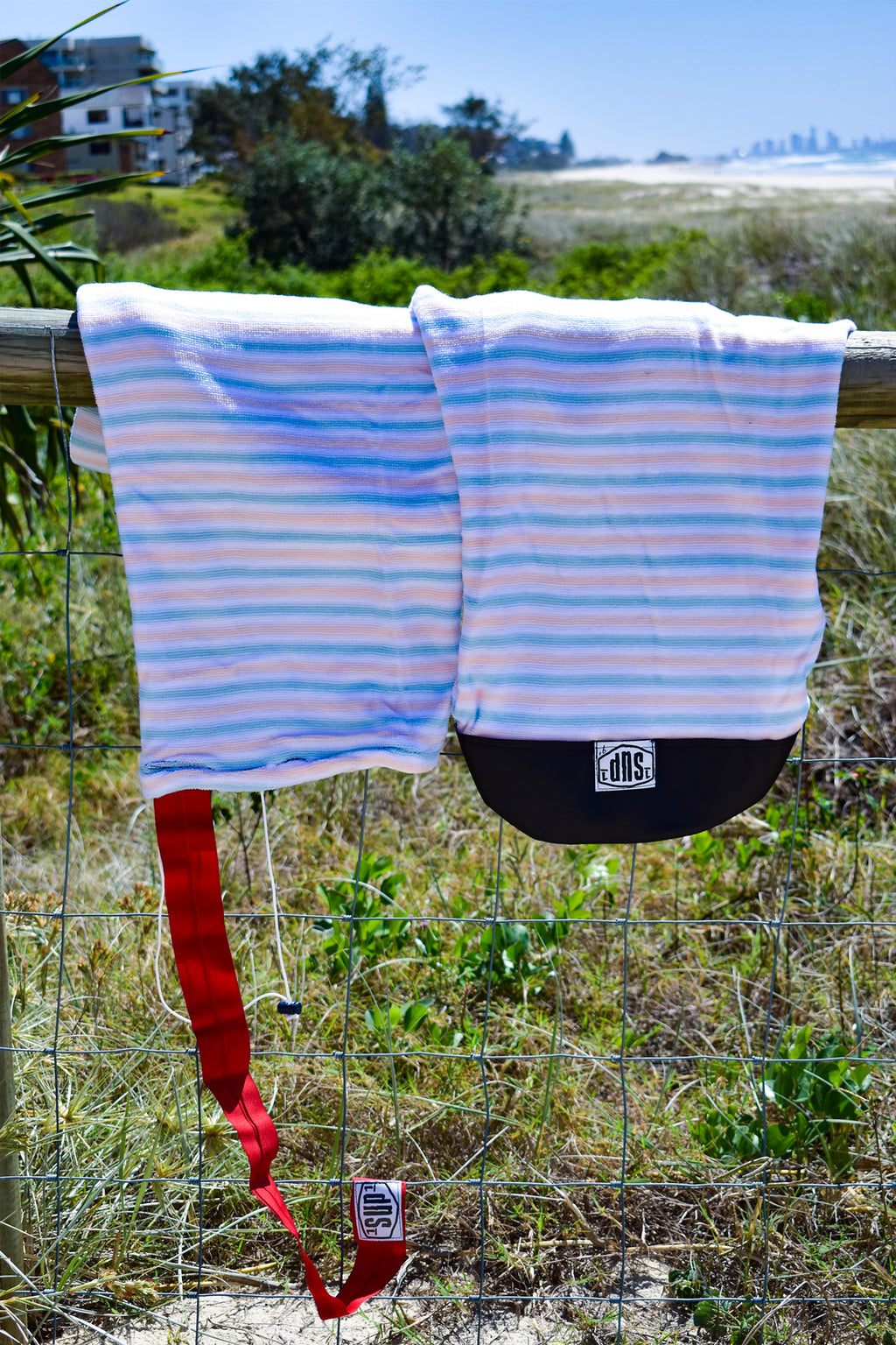 SUP Board Sock (Light Blue, Apricot & White Stripe)