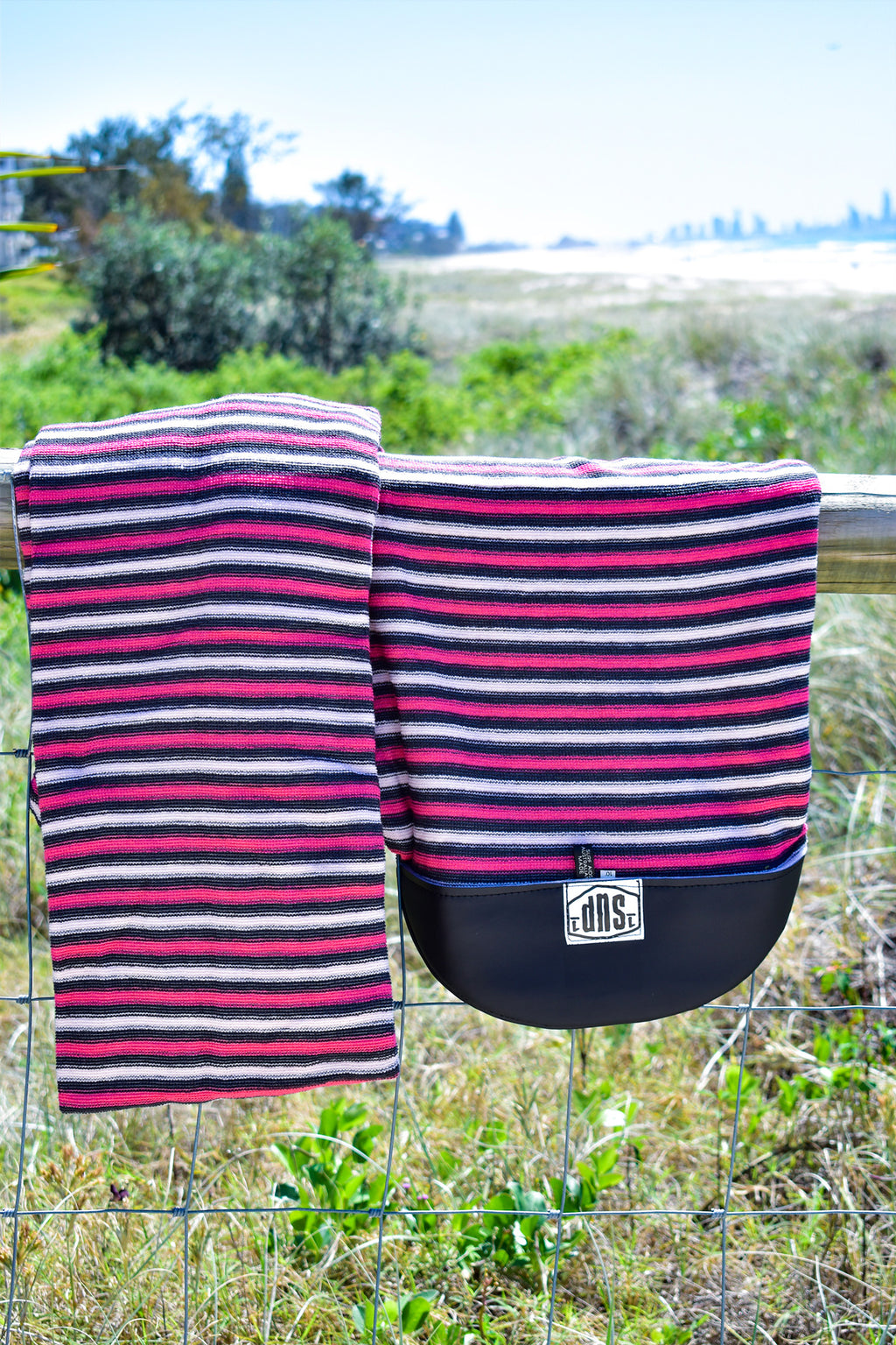 SUP Board Sock (Pink, Black & White Stripe)