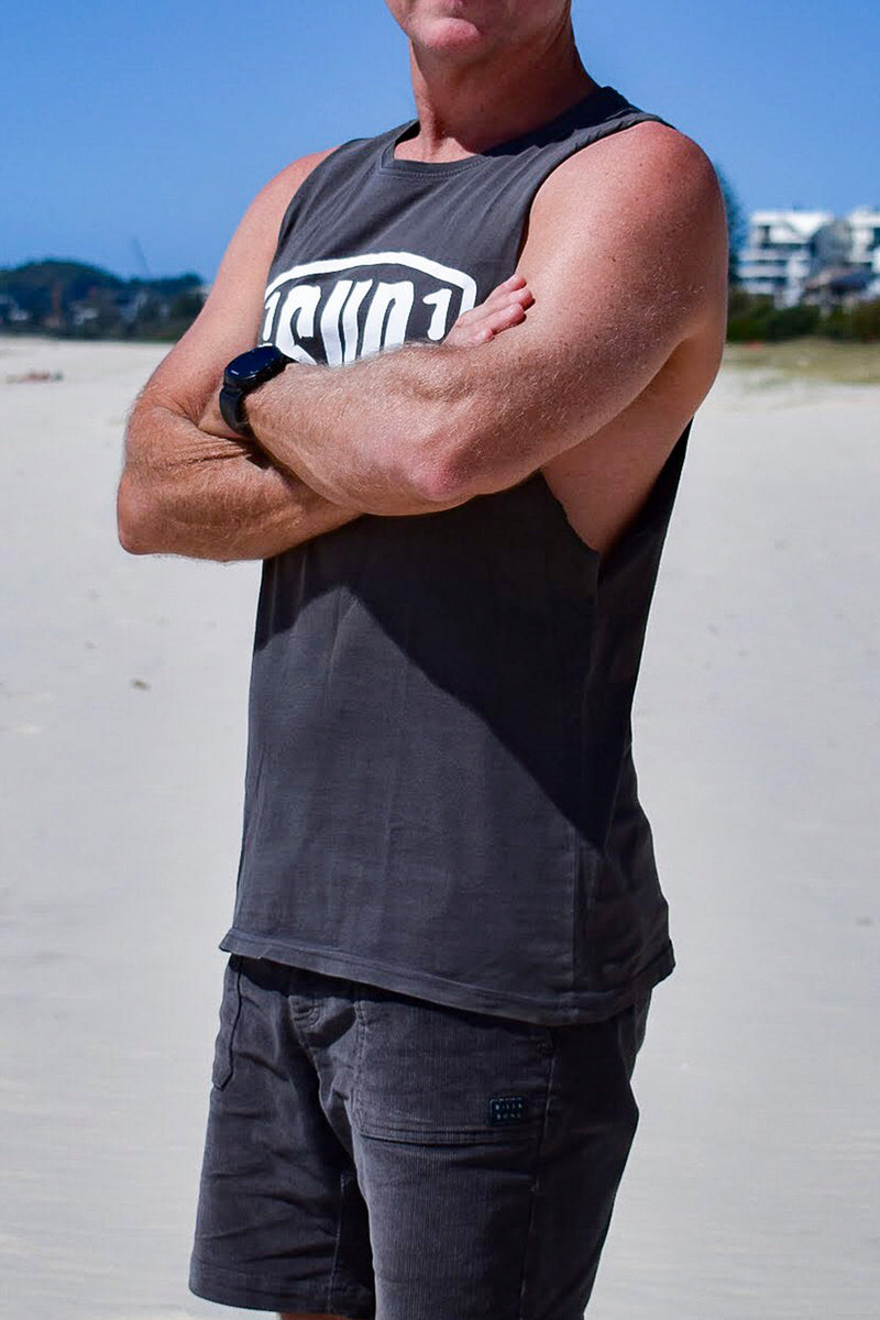 Men's Big Logo Muscle Tee (Charcoal)