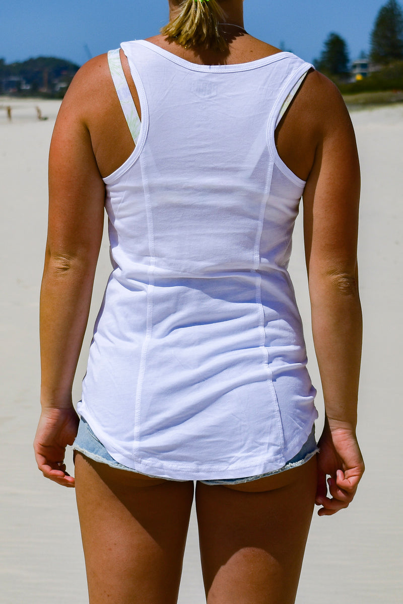 Women's Big Logo Racer Back Singlet (Mint & White)