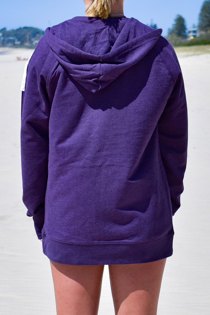 Women's Small Logo Zip Through Hoodie (Purple Marle)