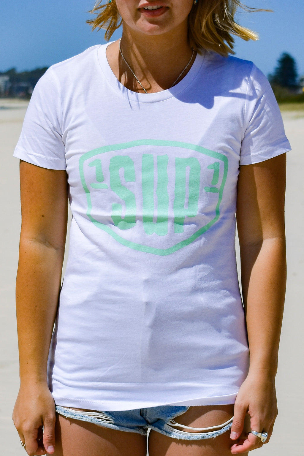 Women's Big Logo Tee (White & Mint)