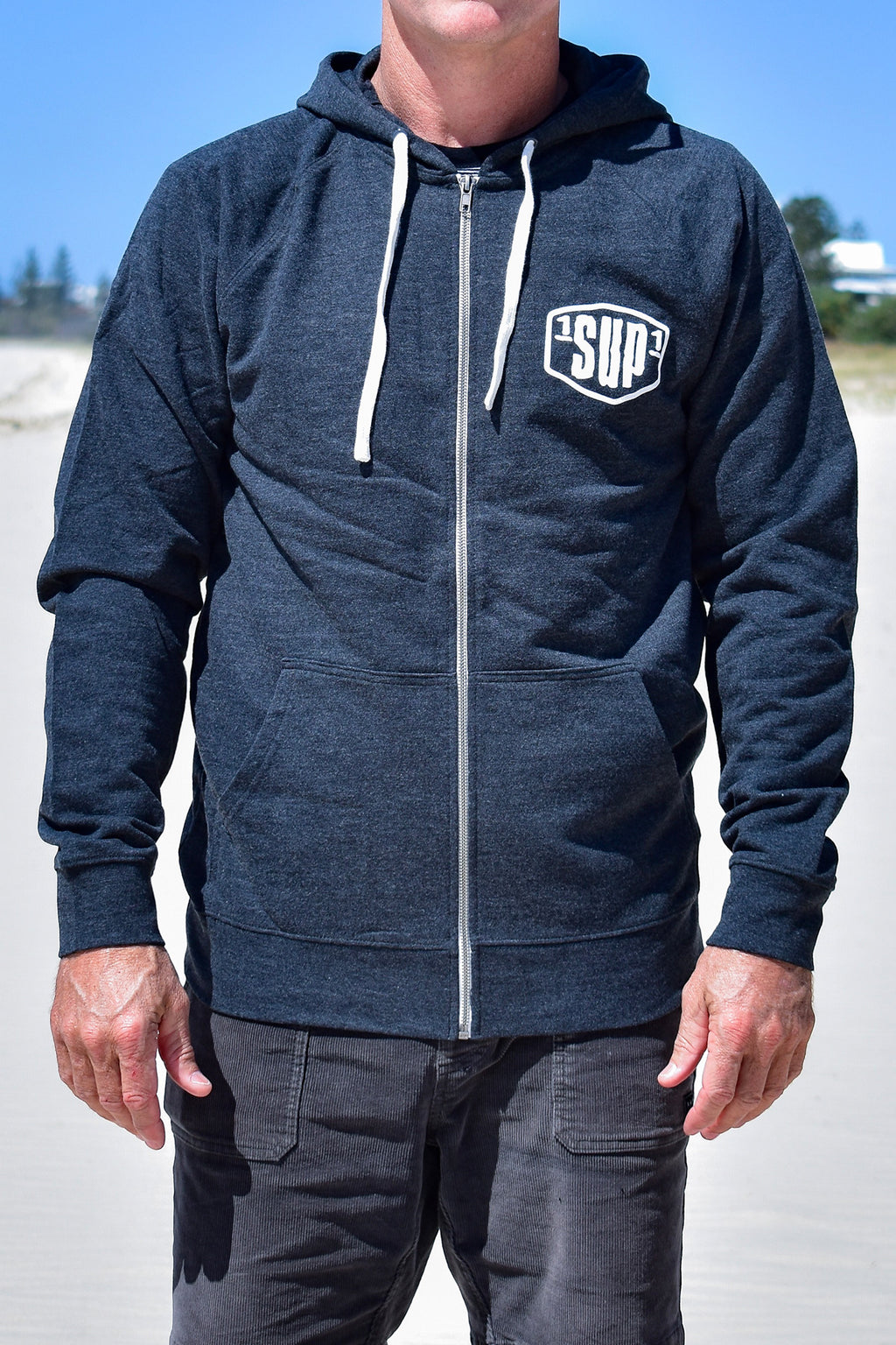 Men's Small Logo Zip Through Hoodie