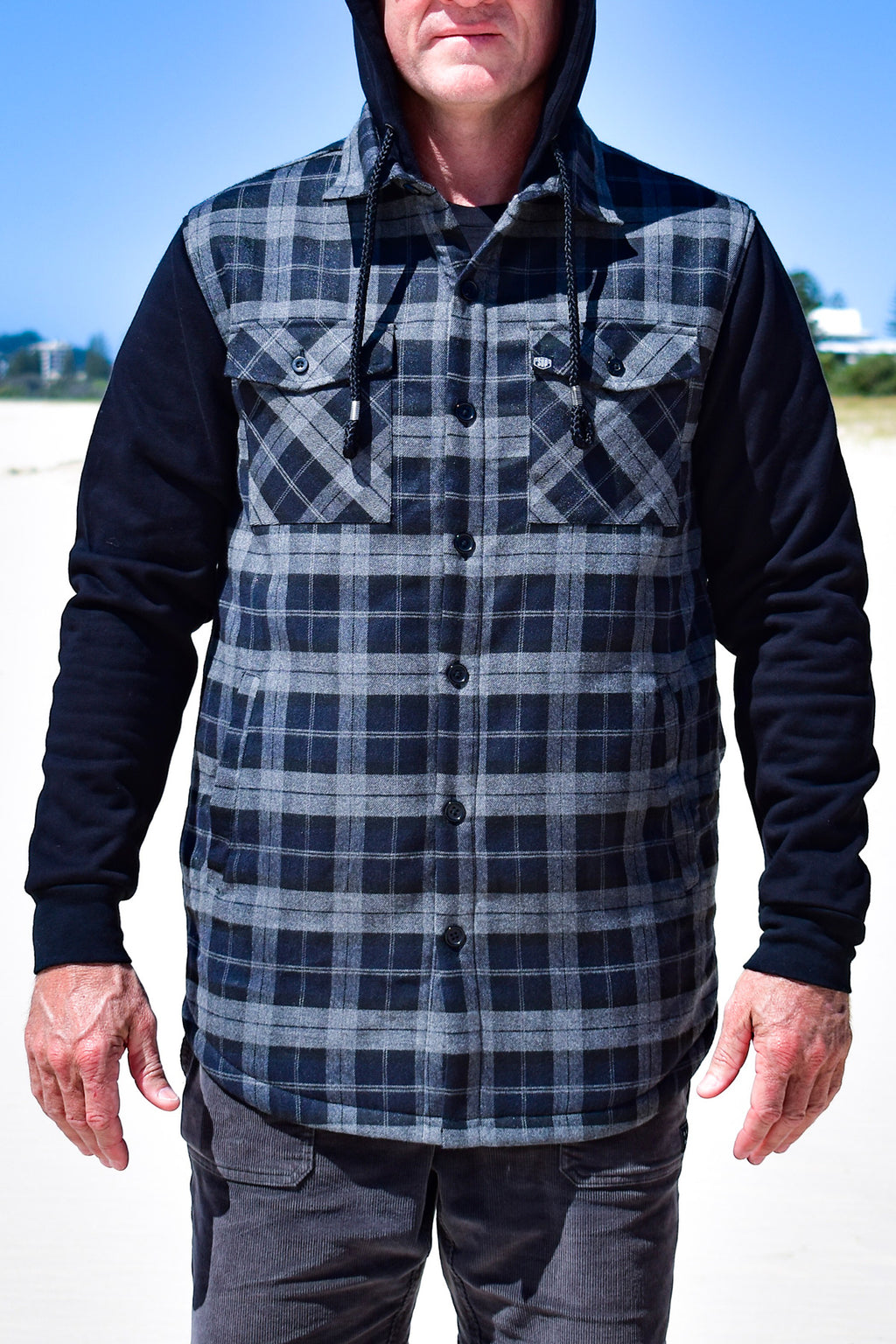 Men's Back Beach Fleece Hooded Jacket