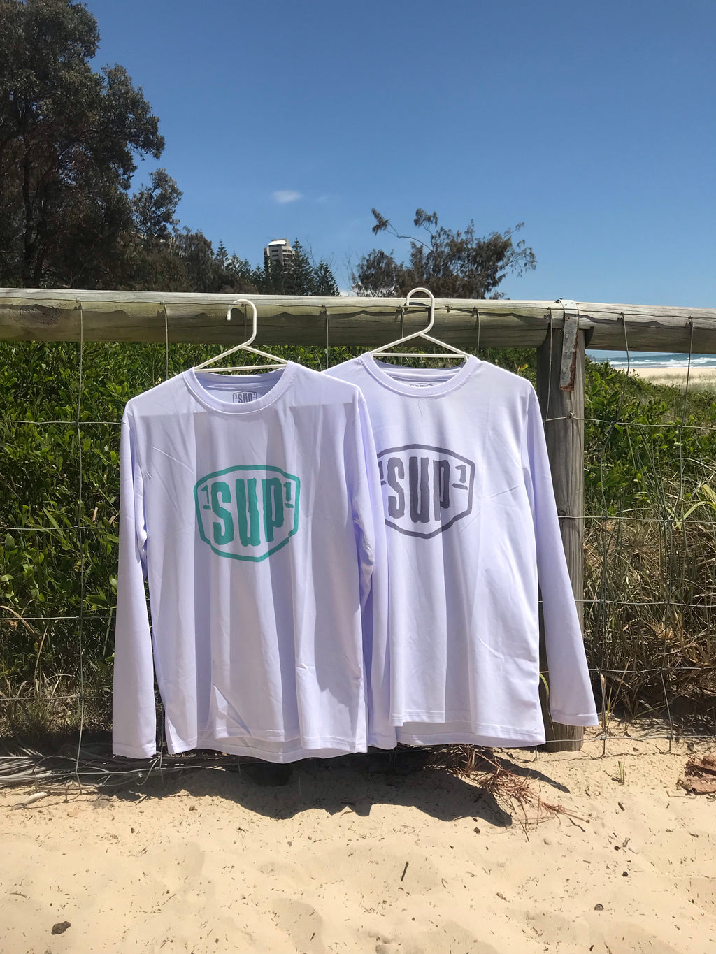 Women's White Long Sleeve Paddle Tee (Mint Logo)