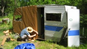 Mike working on the trailer.