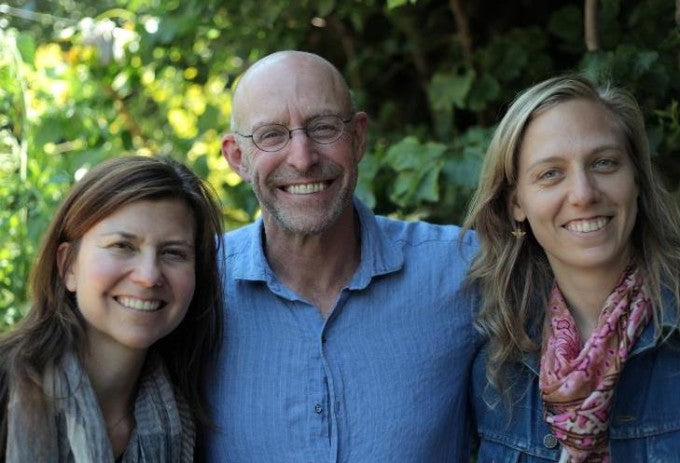 Civil Eats co-founders Paula and Naomi, with food journalist Michael Pollan. Photo by Robin Moore.