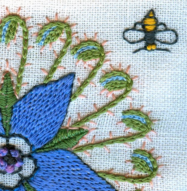 Detail of Borage embroidery by Donna Sharrett