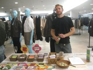 Doug posing with our new blue friends during Fashion's Night Out at Barney's New York.