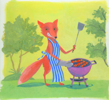 Sly grilling fox by Pack Artist Deb Lucke.