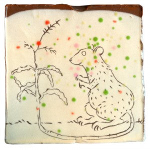Rat Pack: Ceramic Tile by Ayumi Horie for the 2009 Rat's Tail Radish Art Pack