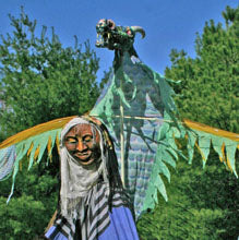 Stone Mountain Masquers in Procession: WiseWoman & AirDragon Beltane 2006.  April 29, Stone Mountain Farm.  (Linda Law)