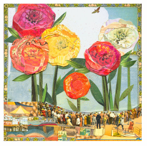 State Fair Zinnia collage by Sarah Snow