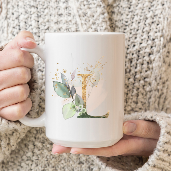 Greenery Monogram- Inspirational Mug