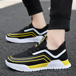2019 summer new breathable men's high-elastic flying woven running shoes - agendin