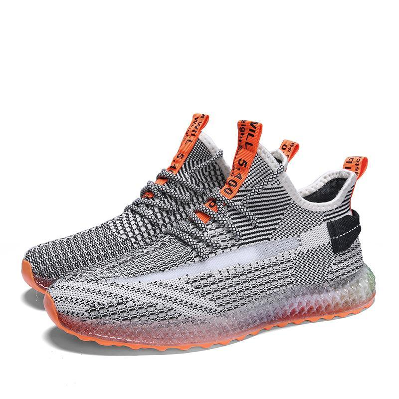 4D printing flying woven male Yezzy shoes personalized color jelly sneakers - agendin