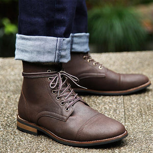 Genuine Leather Lace-up High Quality Vintage British Military Boots - agendin