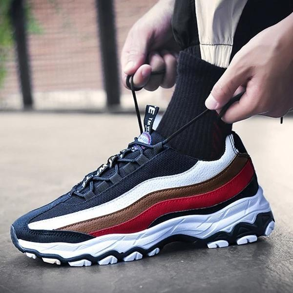 2019 spring new men's shoes trend casual sports shoes leather running shoes - agendin