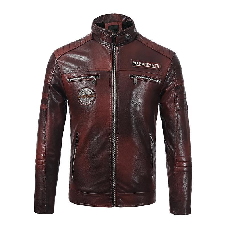New Men's Motorcycle Jacket Plus Velvet Leather Jacket