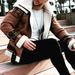 Mens Large Lapel Plush Leather Jacket