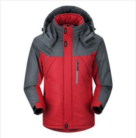 Winter Plain Keep Warm Color Blocking Outdoor Climbing Coat