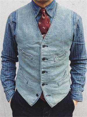 Men's Pocket Denim Vest