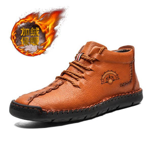 2019 New Men's Leather Shoes Plus Velvet Martin Boots