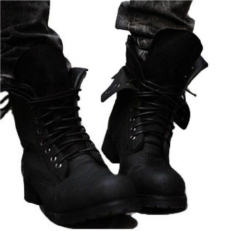 Autumn and winter men's high-top Martin boots British style knight boots - agendin