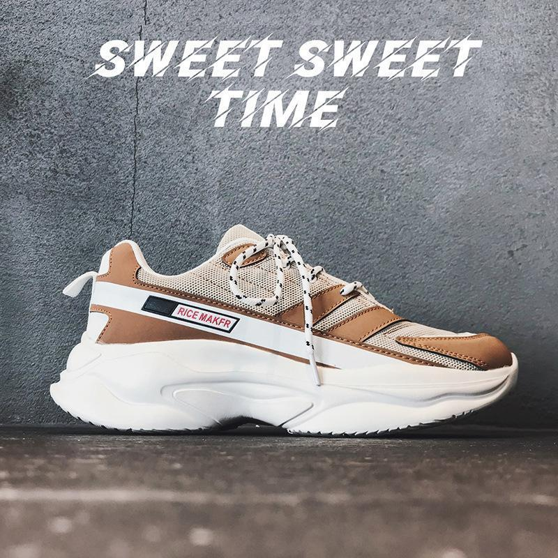 2019 spring new old shoes ins retro sports shoes men's casual thick-soled shoes - agendin
