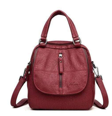 Buyshown Necklace&Rings Winered Fashion Multipurpose Backpack Shoulder Handbag
