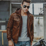 Vintage Removable Hoodie Leather Jacket