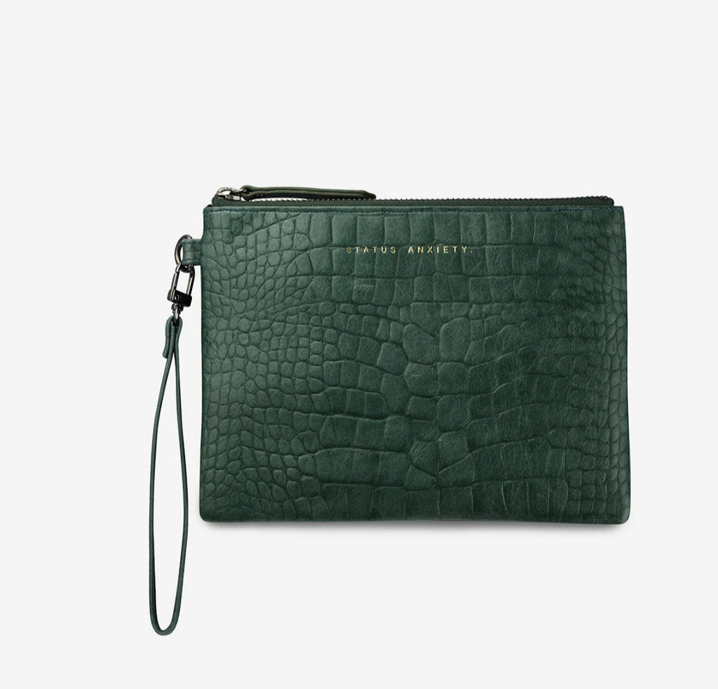 Fixation Leather Clutch Teal Croc Emboss