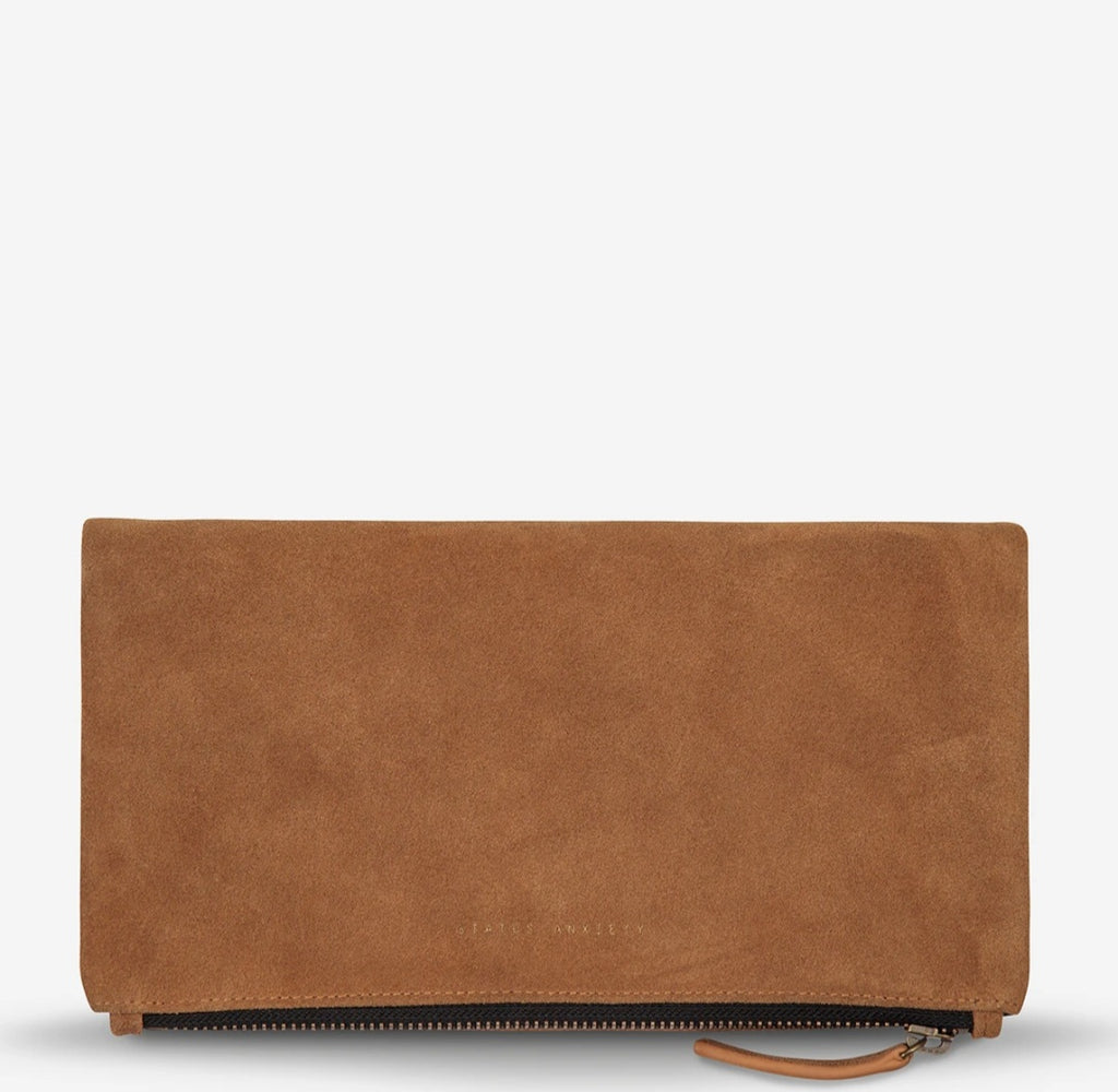 Feel The Night Tan Leather Clutch