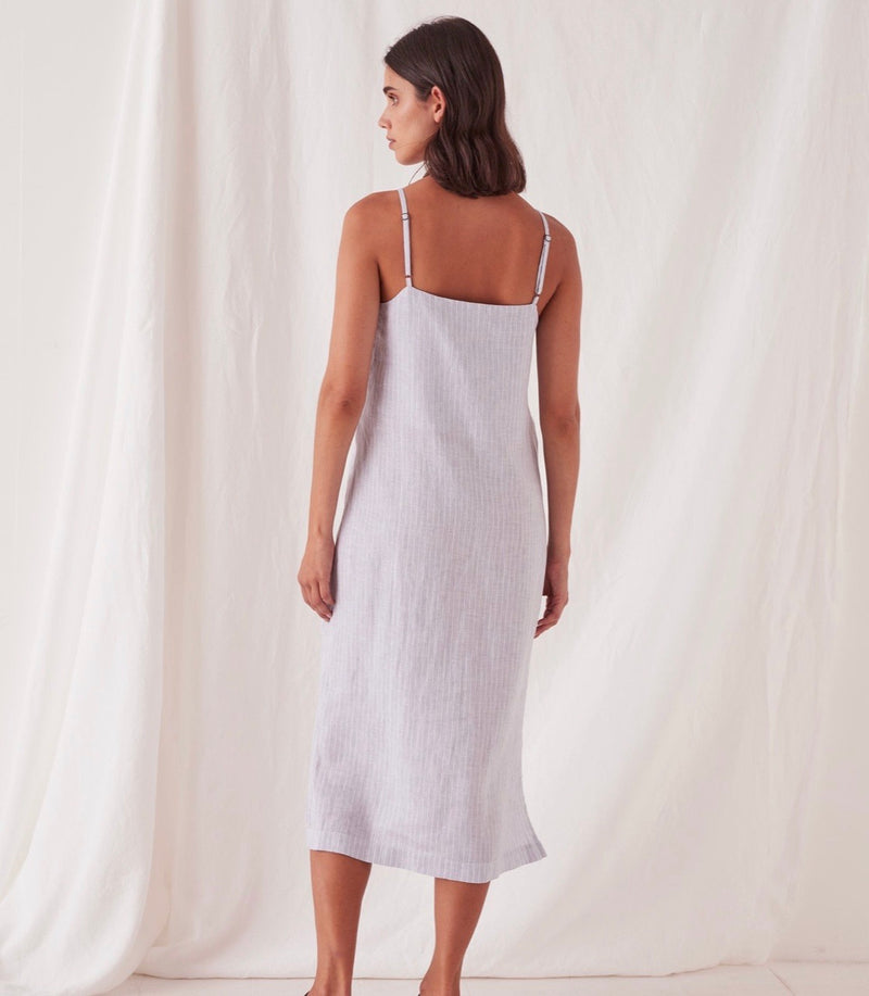 Linen Dress Seamist Stripe