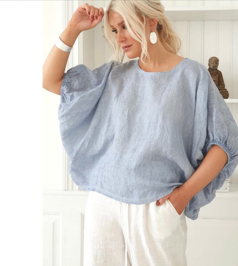 Tine Linen Top - Heavenly Blue
