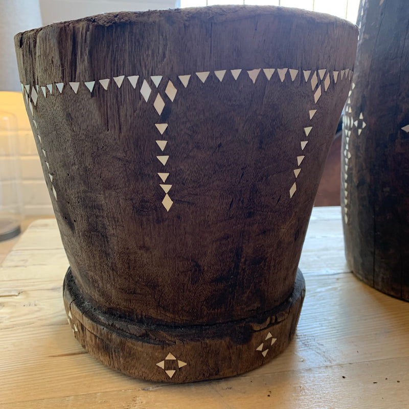 Inlaid TImber Pot small