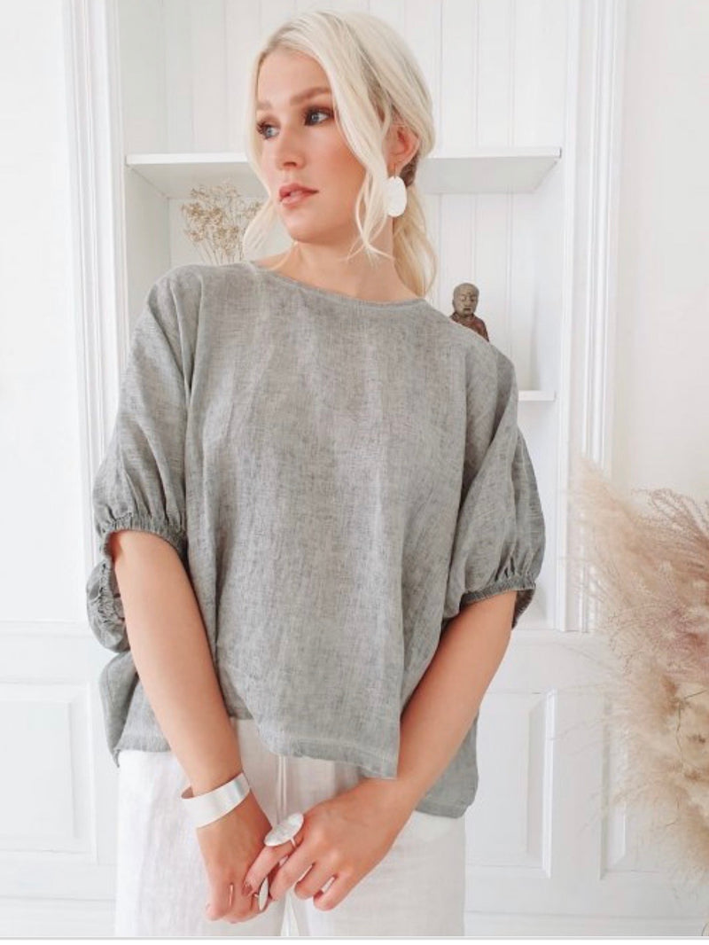 Tine Linen Top - Grey Melange