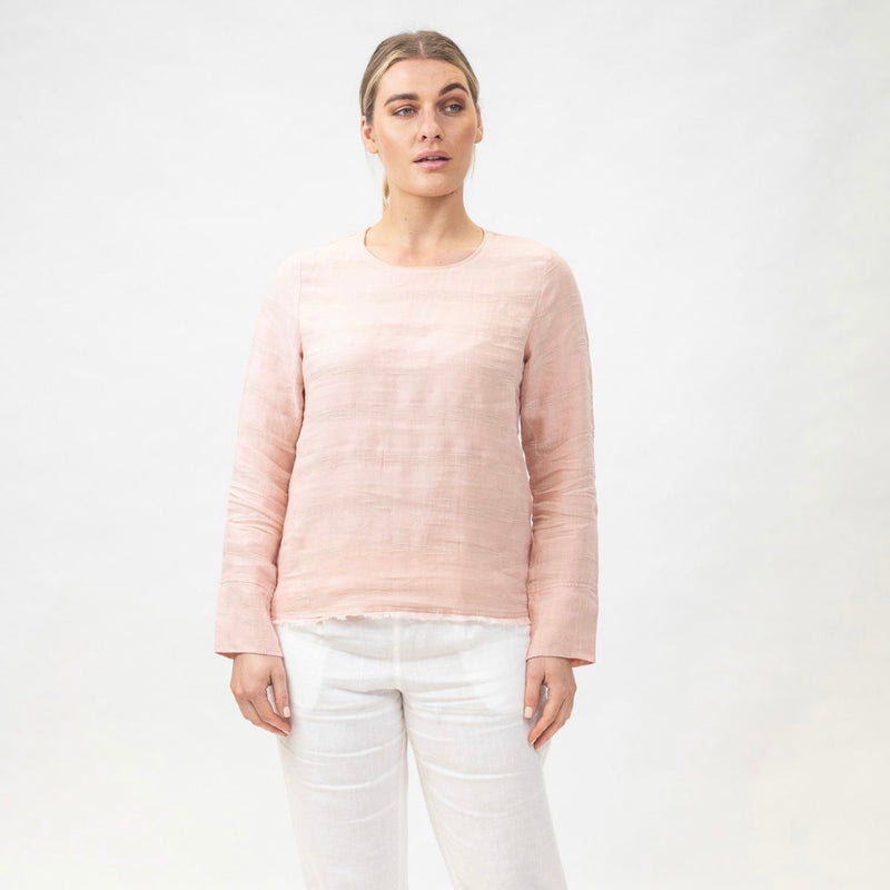 Linen Long Sleeve Top Pink GA122