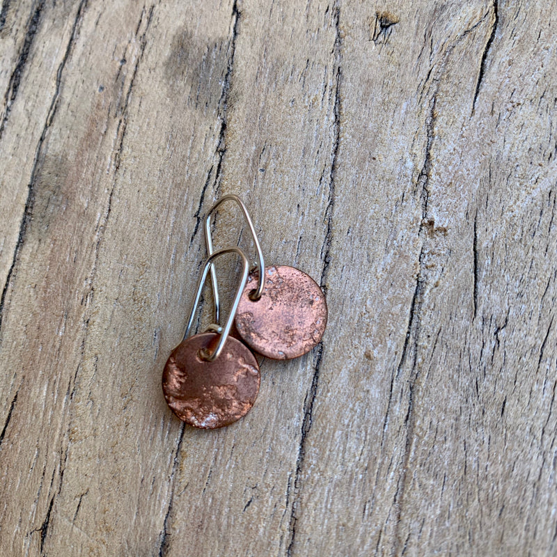 Copper and silver textured earrings