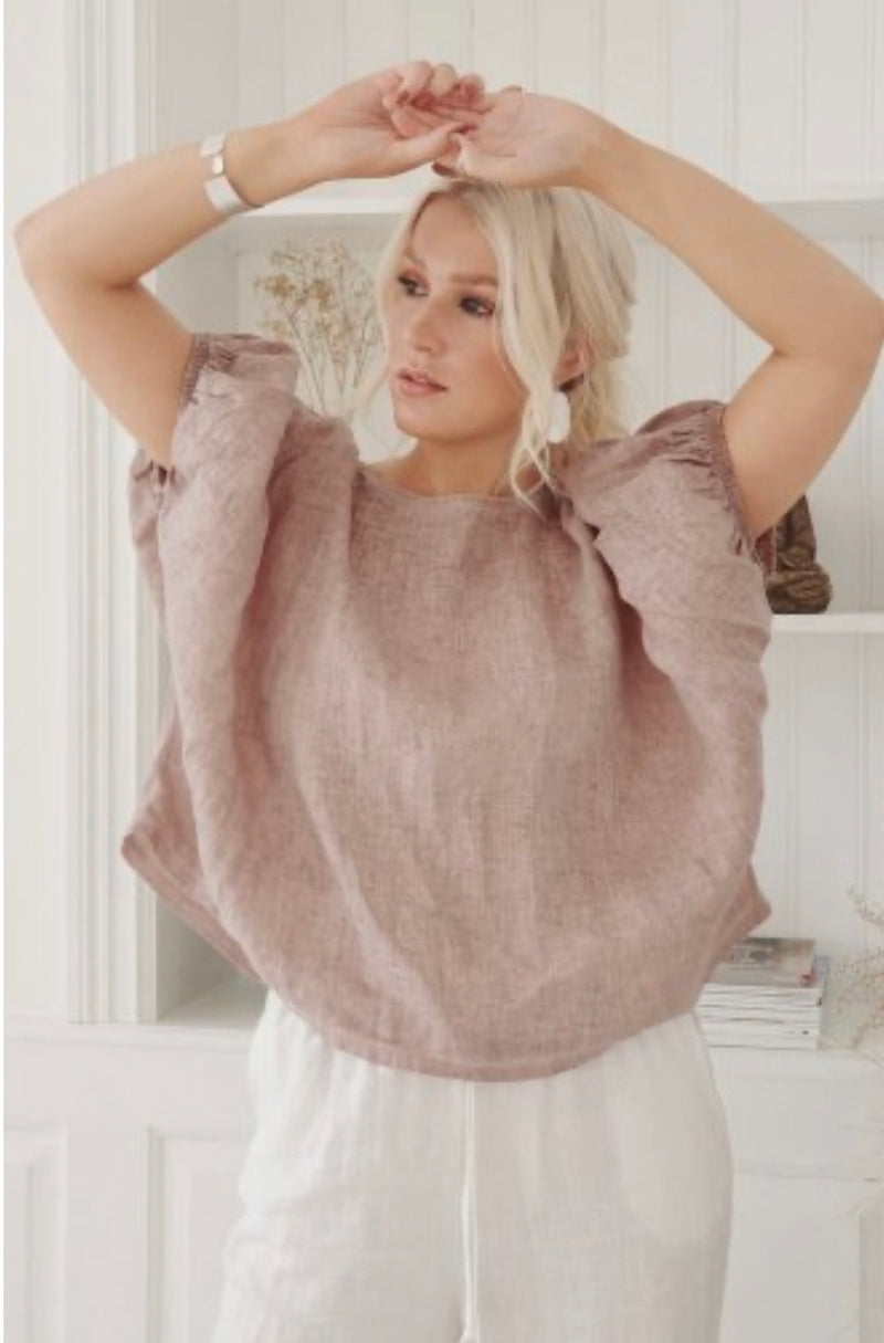 Tine Linen Top - Heather