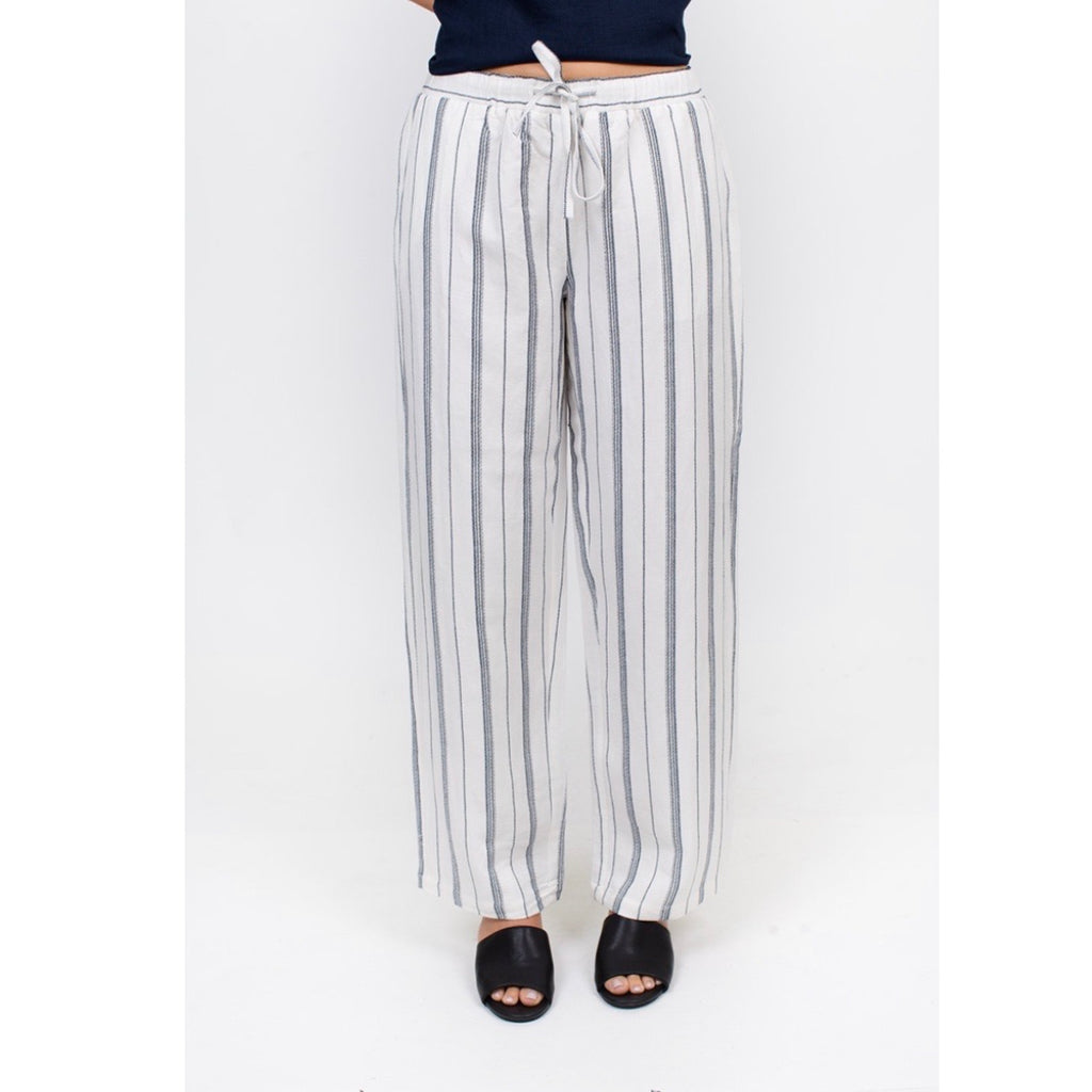White pant with blue stripe